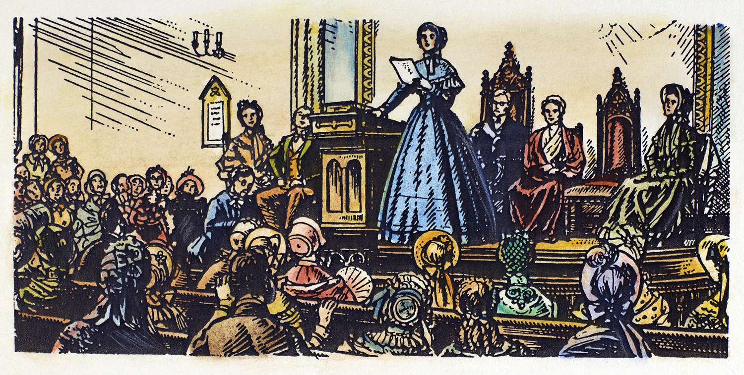Elizabeth Cady Stanton addressing the first Women's Rights meeting at Seneca Falls, New York, 20 June 1848. Illustration, early 20th century.