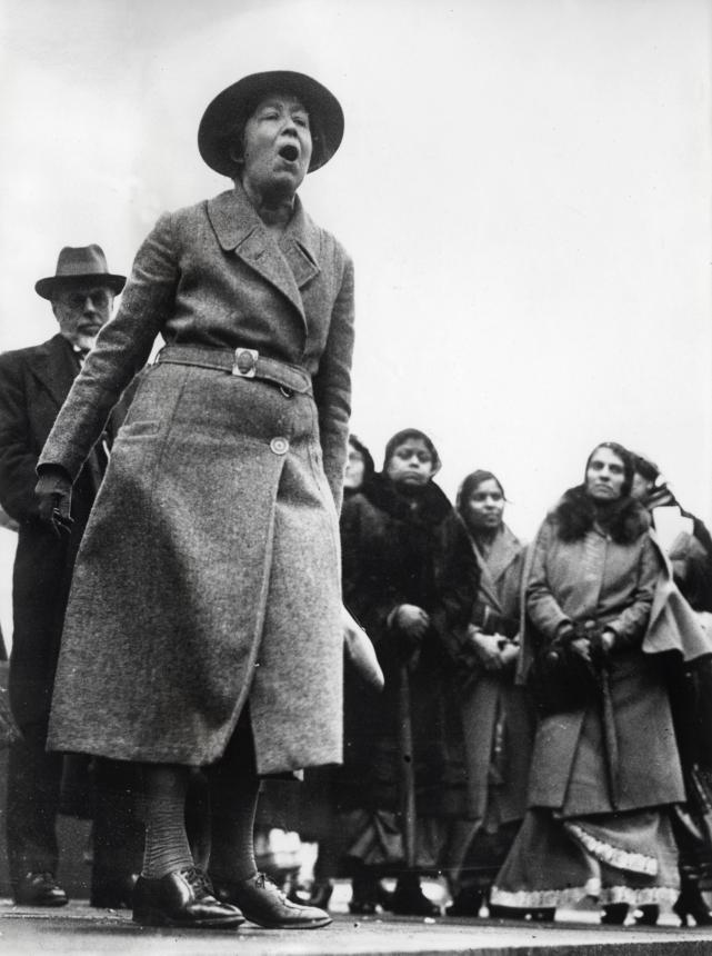 Sylvia Pankhurst protesting in Trafalgar Square, London, 1932.