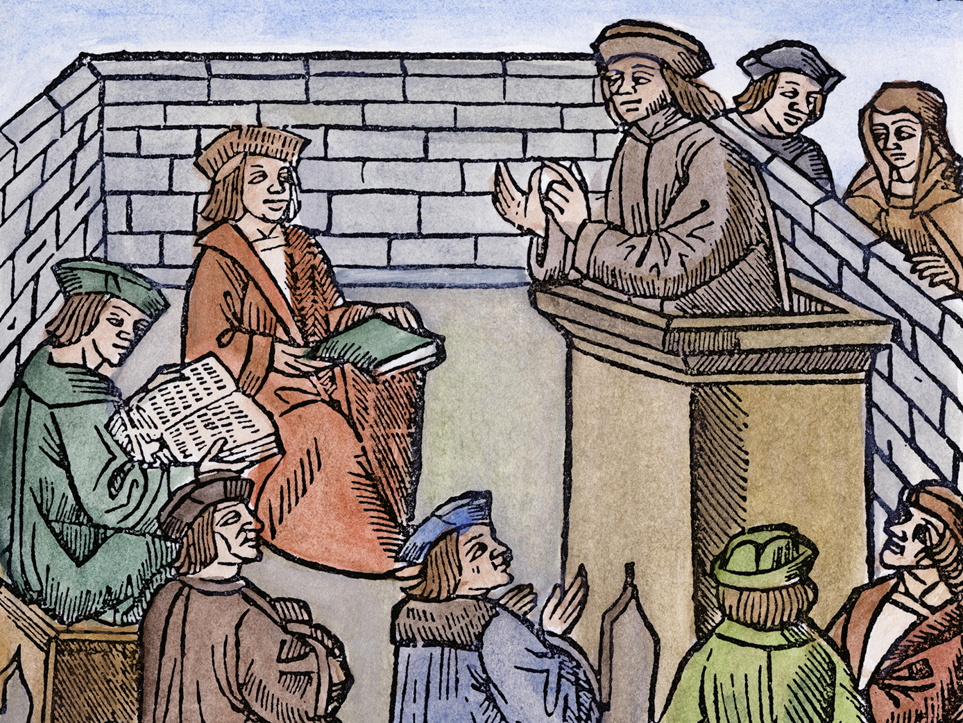A professor lectures at a medieval university. Geneva, c.1525.