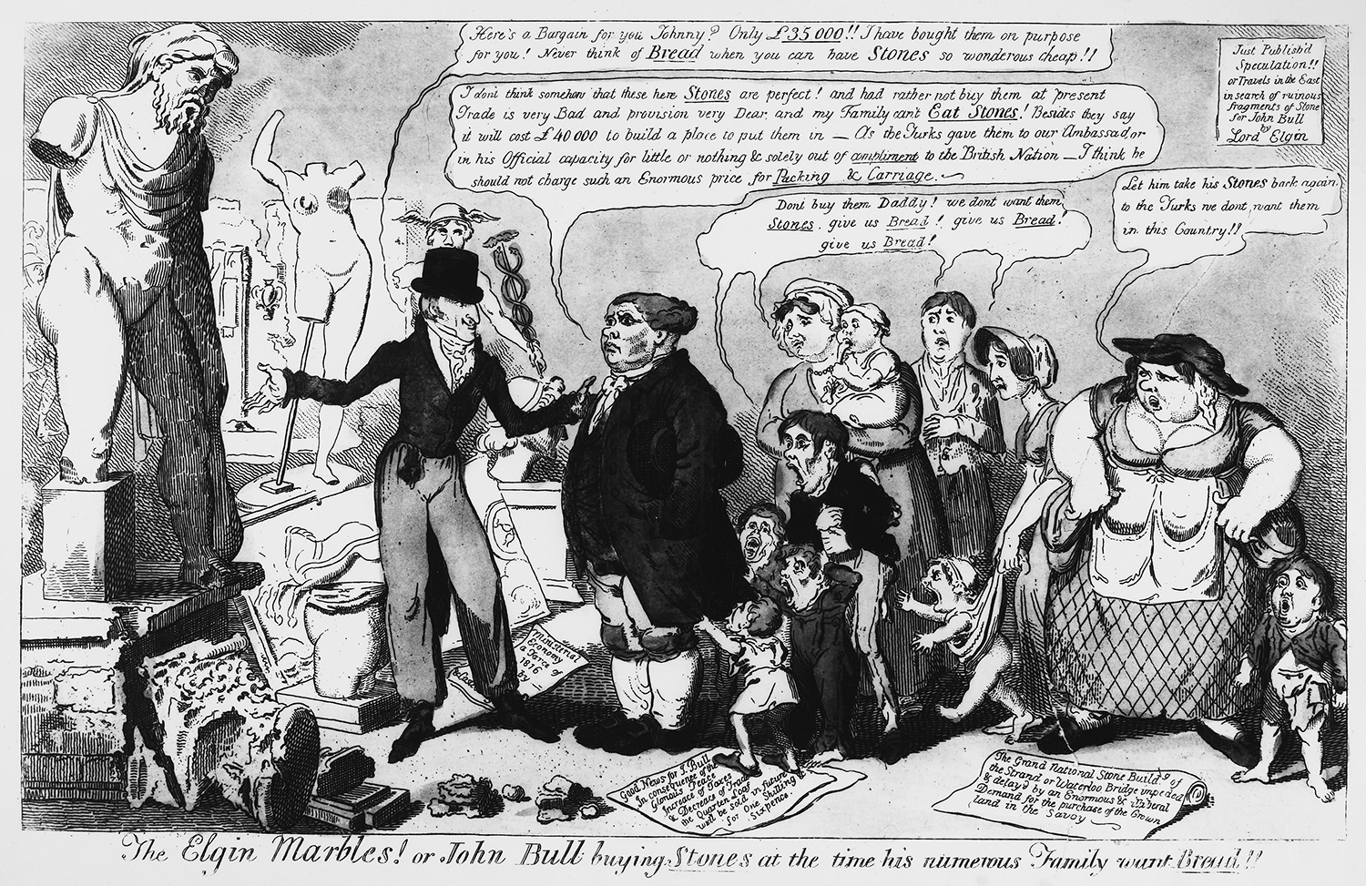'The Elgin Marbles! or John Bull buying Stones at the time his numerous Family want Bread!!', George Cruikshank, 1816.
