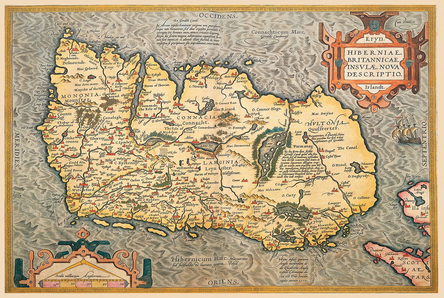 Map of Ireland, Abraham Ortelius, 16th century.