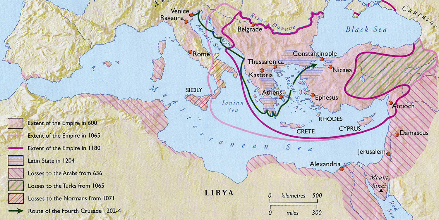The shifting boundaries of the Byzantine Empire.