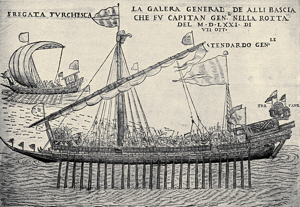 Turkish battleship in the 16th century, engraving by Melchior Lorichs. Lebrecht Music and Arts Photo Library / Alamy Stock Photo