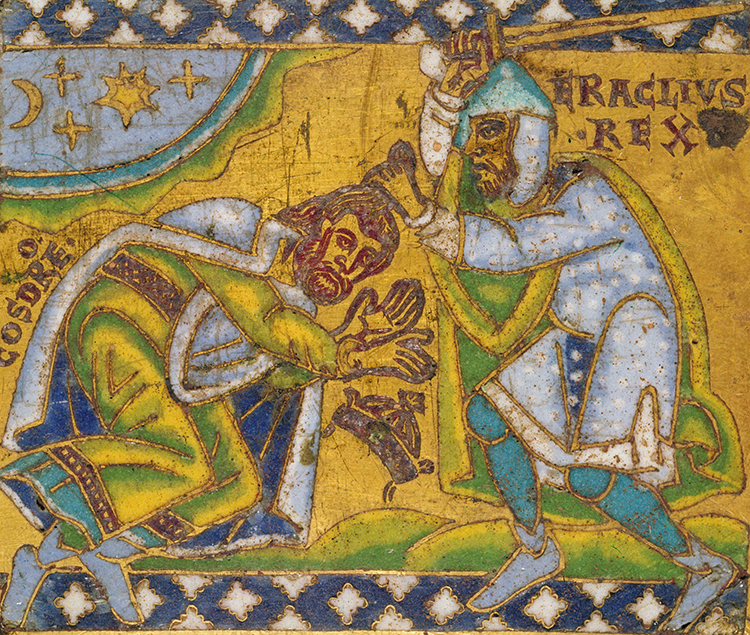 Heraclius kills Khosraw II, enamel, French 13th century. Ⓒ Bridgeman Images.