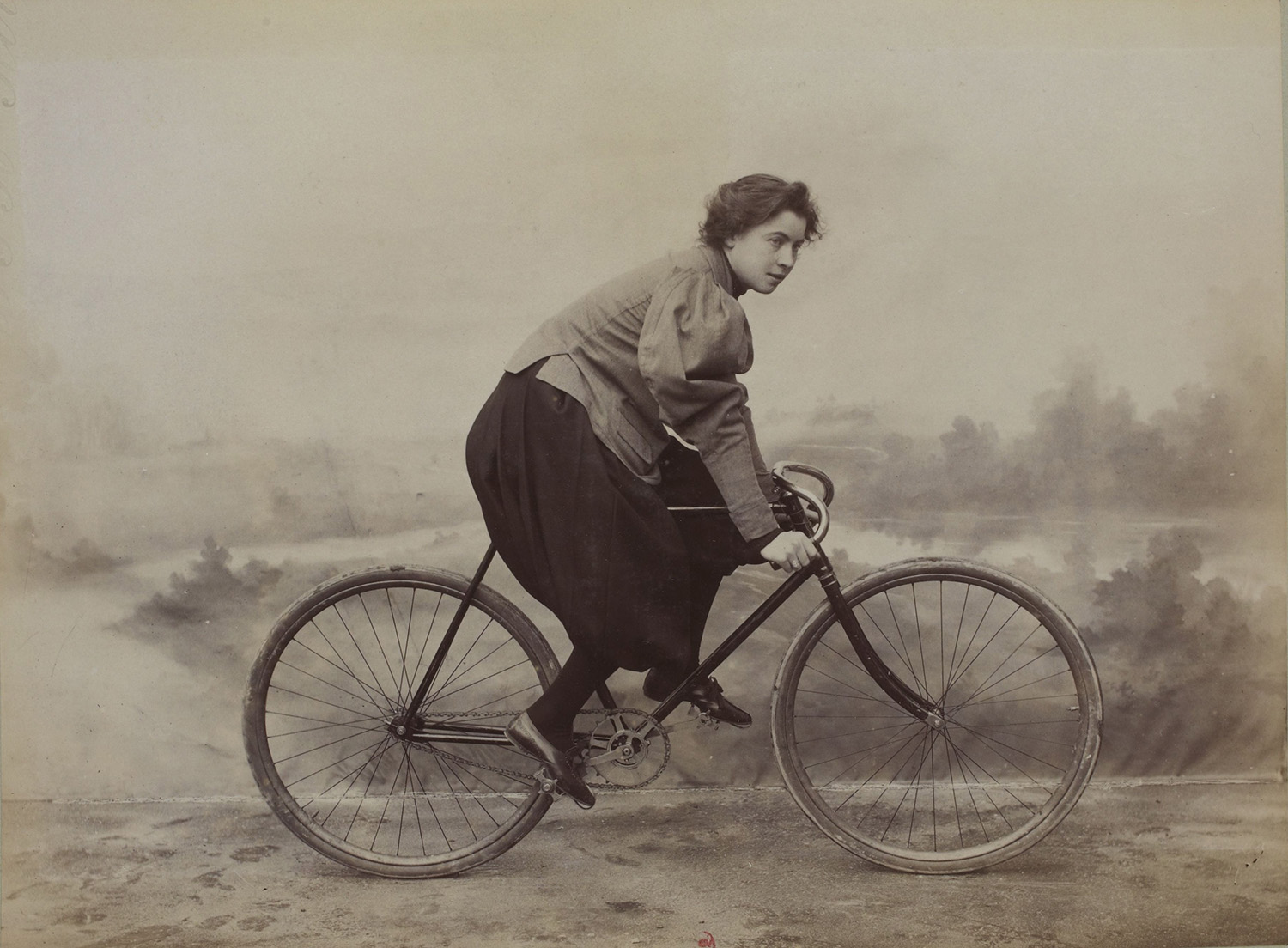 French racing cyclist Marie Tual wearing bloomers, 20th century.
