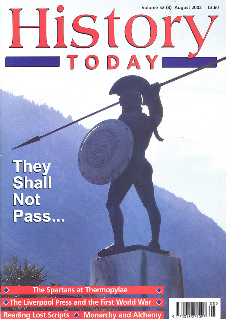 Statue of Leonidas in Sparta on the cover of History Today, August 2002.
