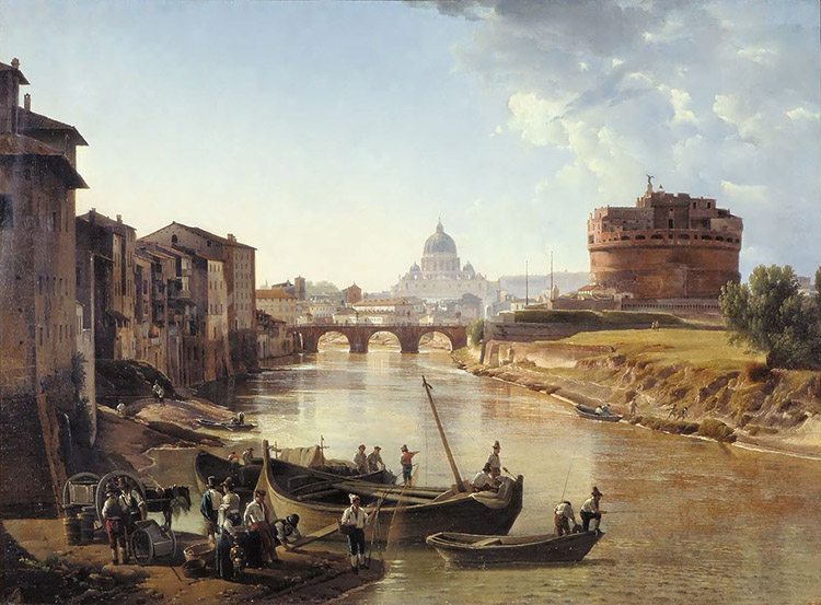 Rome, view of the Tiber river and the Castel Sant'Angelo, Sylvester Shchedrin, c.1823/25.