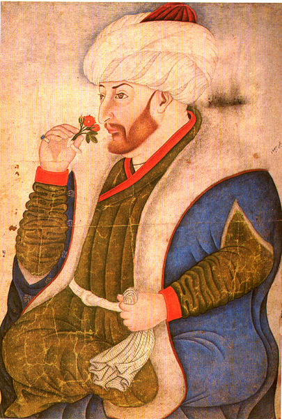 Turkish miniature of Sultan Mehmed the Conqueror, painting by Nakkaş Sinan Bey.