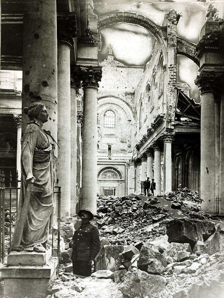 The ruins of Arras Cathedral following the German offensive of 1917.