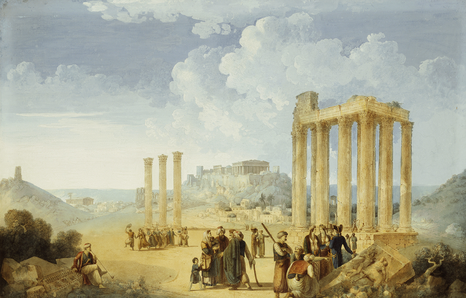 Temple of Olympian Zeus, Athens with the Acropolis in the distance, Louis-Francois Cassas, c.1800.