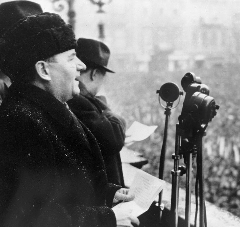 Klement Gottwald calls for workers to repel counter revolutionaries at a meeting in Prague, 21 February 1948.