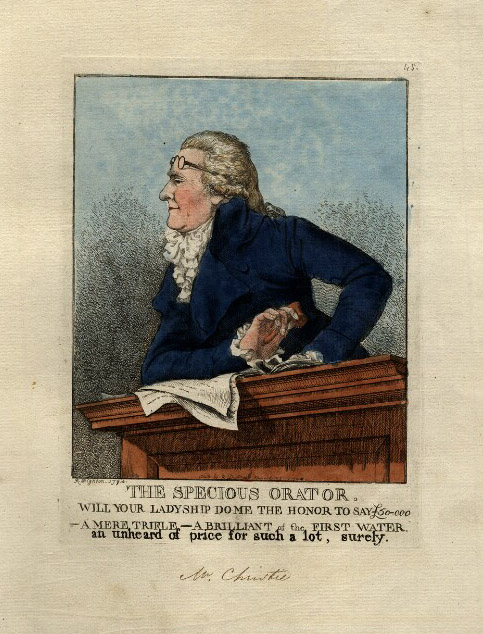 James Christie, 'The Specious Orator', Robert Dighton, 25 March 1794 © National Portrait Gallery, London.