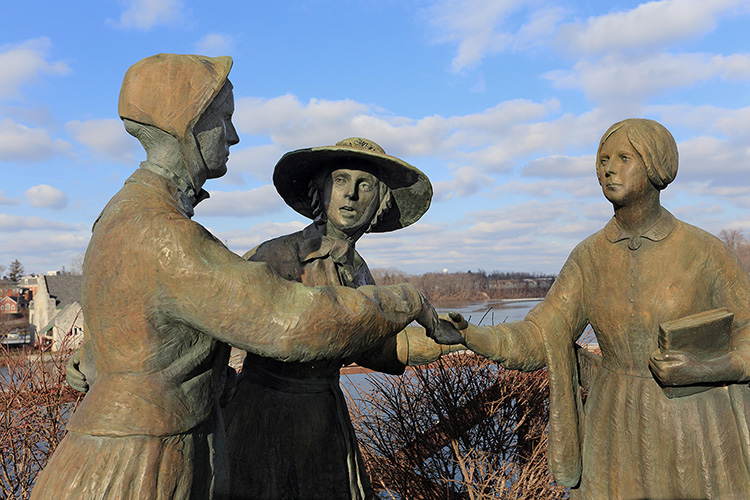 Sculpture depicting the May 1851 meeting of Elizabeth Cady Stanton and Susan B. Anthony, Seneca Falls, New York.