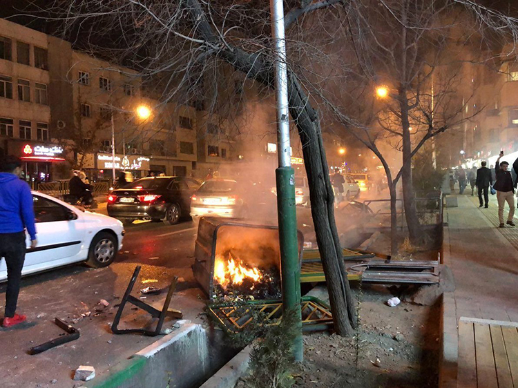 Aftermath of protests in Tehran, 30 December 2017.