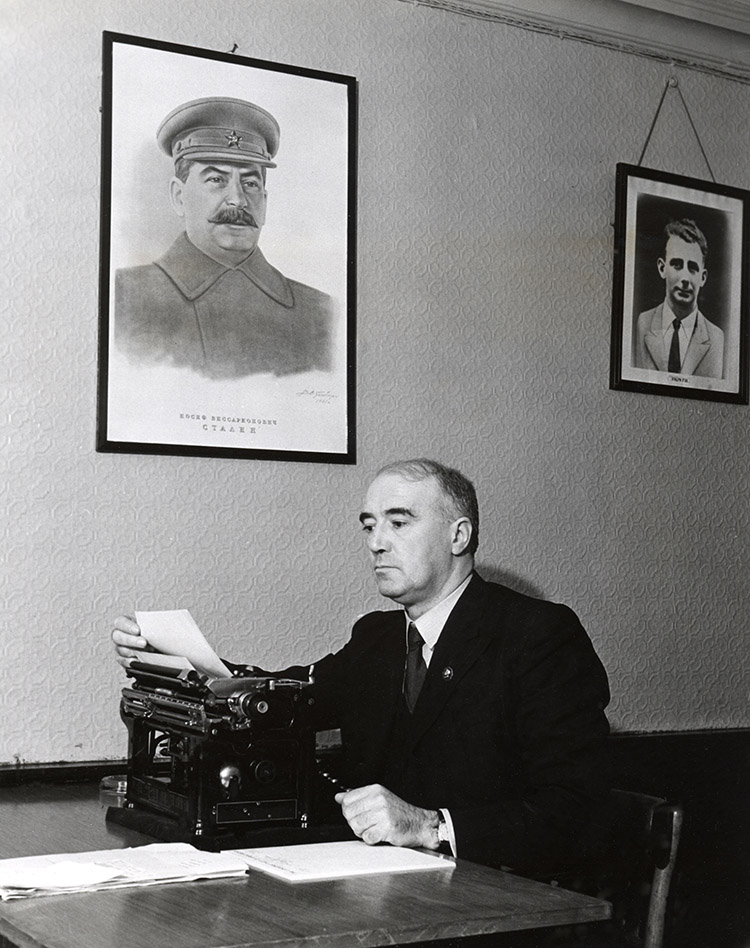 Harry Pollitt as General Secretary of the Communist Party of Great Britain in his London office, 1945.