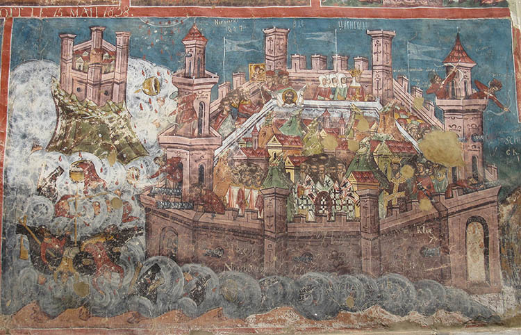Depiction of the Siege of Constantinople in 626 on the walls of the Moldovița monastery, Romania.