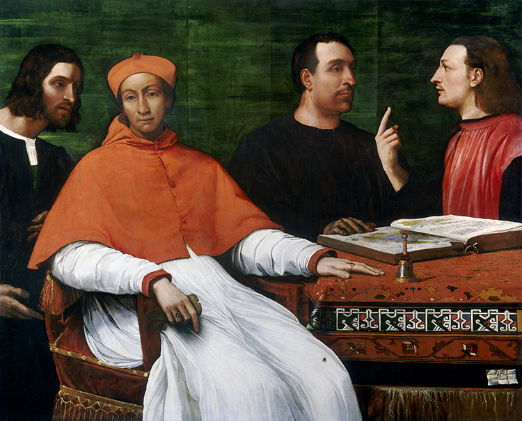 Cardinal Bandinello Sauli, His Secretary, and Two Geographers, Sebastiano del Piombo, 1516.