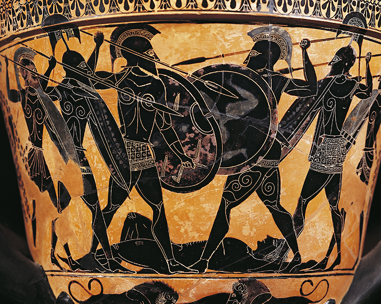 A vase from fifth-century Athens depicts a fight for the body of Patroclus Achilles' comrade in arms.  © Bridgemand Images.