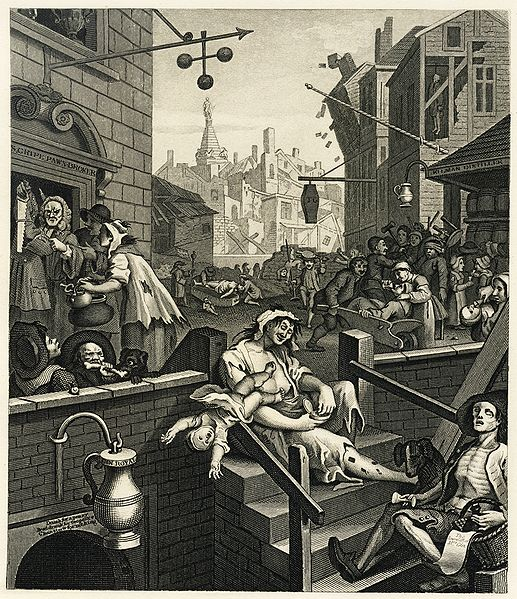 'The swinish multitude' in Hogarth's famous cartoon of the effect of cheap drink on the masses, 'Gin Lane'
