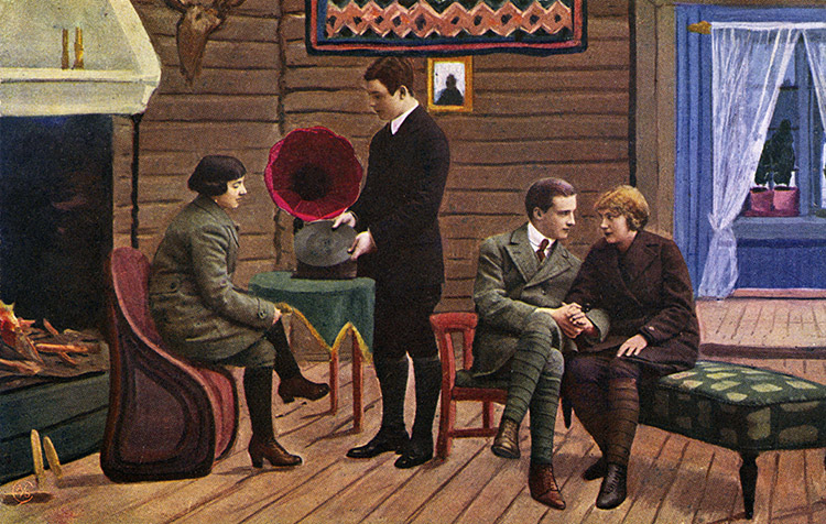 Young people listening to record on a gramophone, Norwegian postcard, early 1930s.