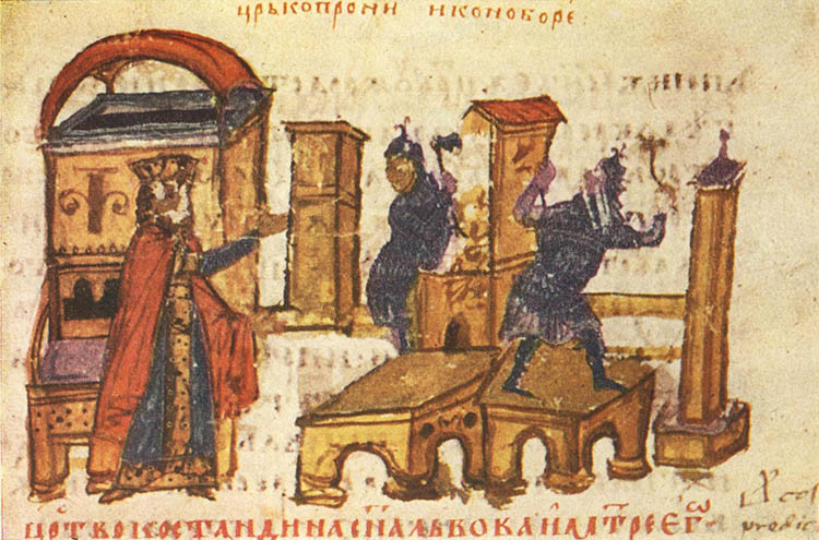 The destruction of a church under the orders of the iconoclastic emperor Constantine V.