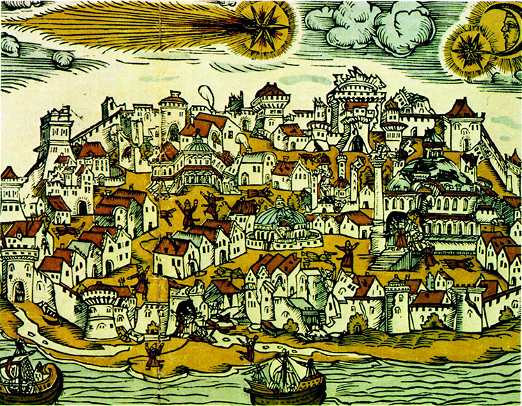 Coloured woodcut depicting the Istanbul earthquake, 10 May 1556.