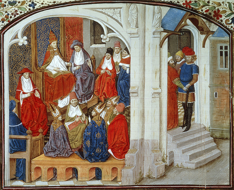Pope Urban II announces the First Crusade, 15th- century French manuscript. Bridgman Images