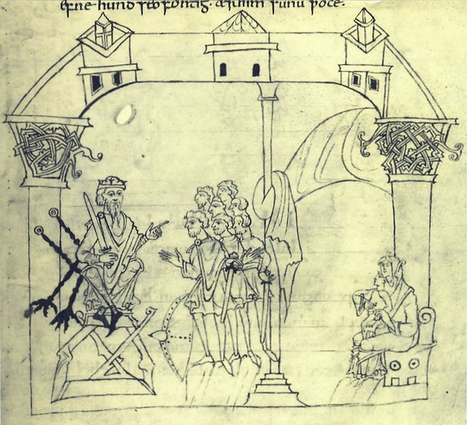 The court of an Anglo-Saxon king (from the 10th-century Junius manuscript in the Bodleian Library, Oxford)