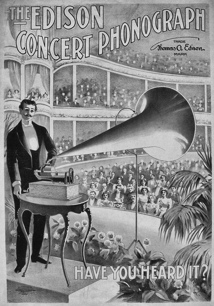 Advertising poster for Edison phonographs, c.1899.