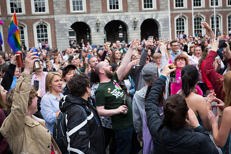 Campaigners celebrate in Dublin, May 2018.