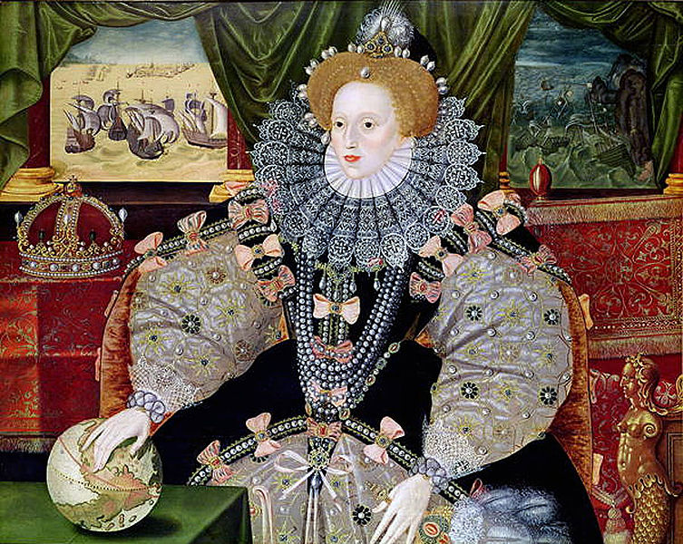 Portrait of Elizabeth I made in approximately 1588 to commemorate the defeat of the Spanish Armada