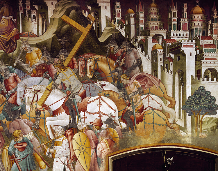 Khusrow II steals the True Cross, fresco by Cenni di Francesco, 1410, Church of St Francis, Volterra, Italy. Ⓒ Bridgeman Images.