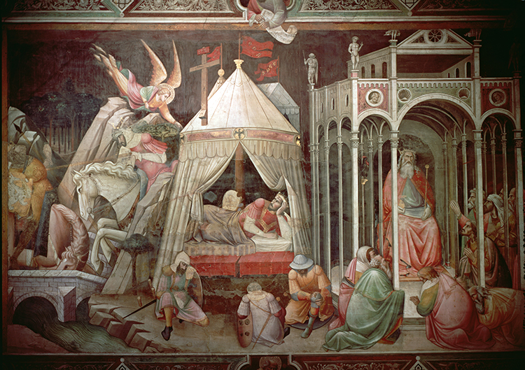 'Khusrow uses the power of the True Cross to invoke his people's adoration', Agnolo Gaddi, c.1380, Church of Santa Croce, Florence. Ⓒ Bridgeman Images.