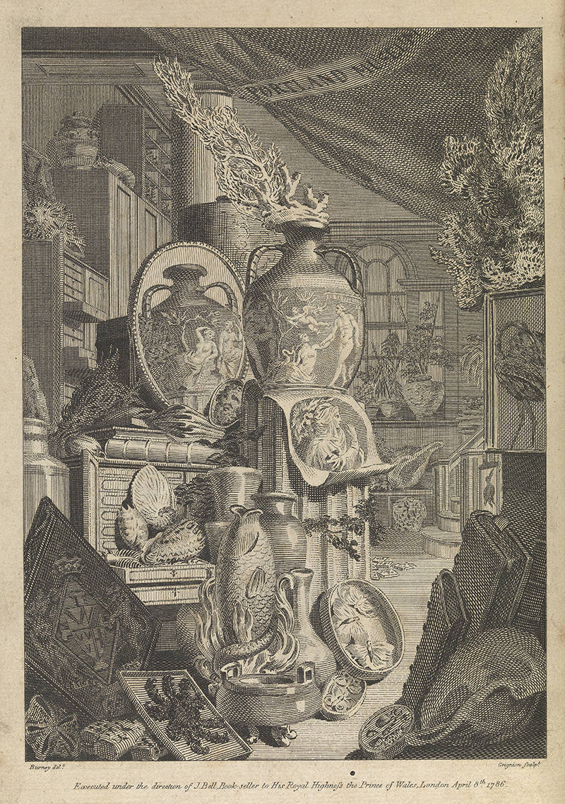 Frontispiece showing view of contents of the Portland Museum, including the Portland vase, 8 April 1786.