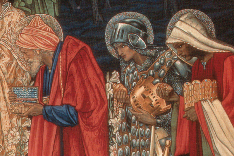 Detail of the Three Kings from The Adoration of the Magi tapestry (Manchester Metropolitan University)