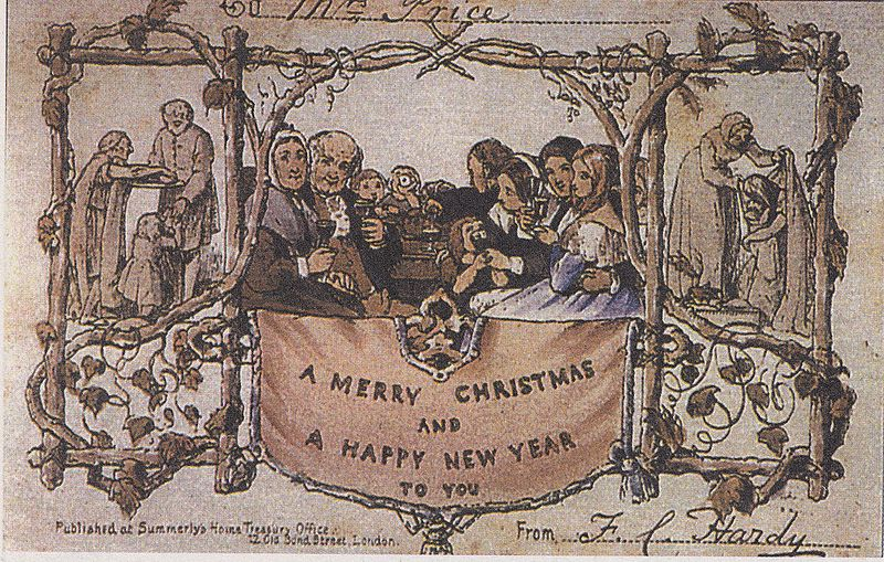 The first commercial Christmas card, produced by Henry Cole and John Horsley in 1843