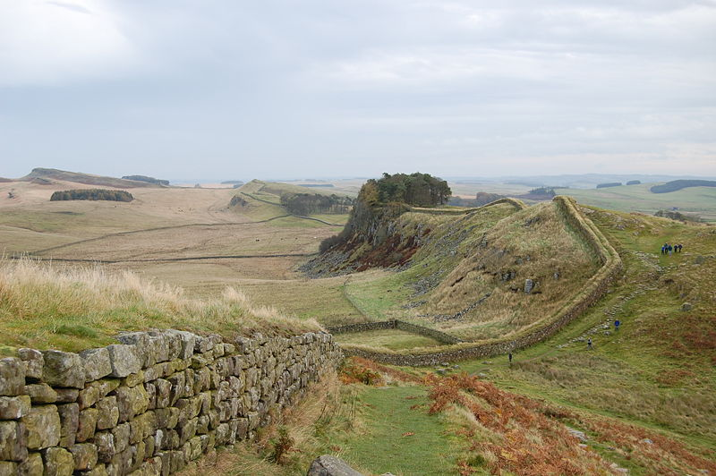 A stretch of Hadrian's Wall about 1 mile west of the Roman Fort near Housesteads