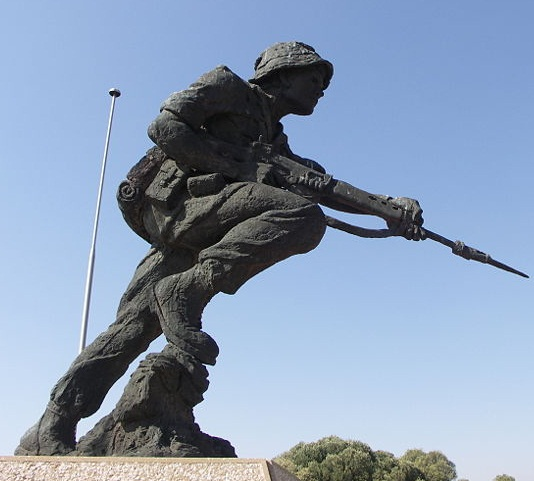 Statue of a uniformed soldier, part of the official memorial to the SADF at Fort Klapperkop