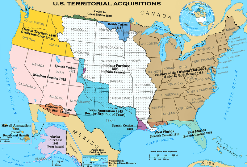 The Territorial acquisitions of the United States including the Gadsden Purchase
