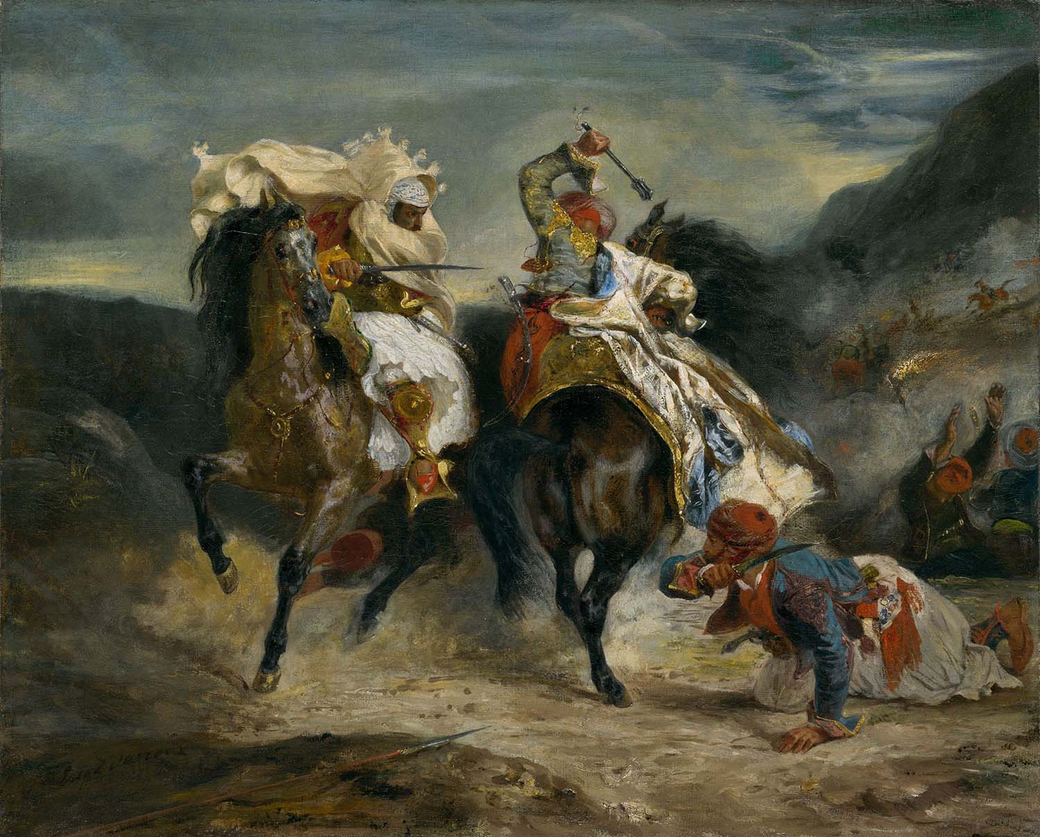 The Combat of the Giaour and Hassan, inspired by Bryon's poem 'The Giaour', Eugène Delacroix, 1826.