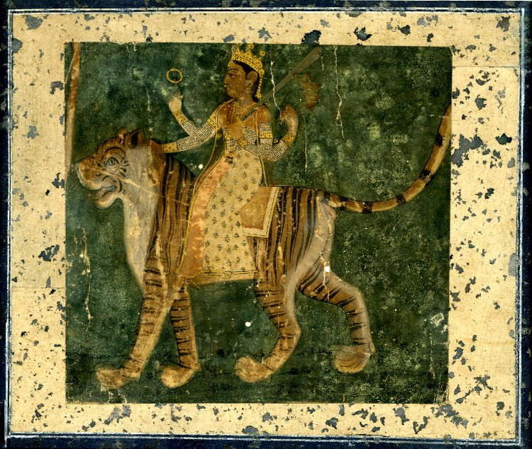 Durgā on a tiger, Rajasthan, c.1800.