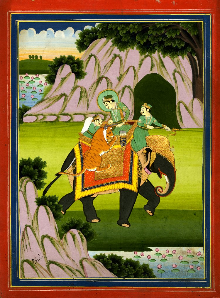 Nobleman and attendants mounted on an elephant attacked by tiger, Rajasthan, 1790-1810.