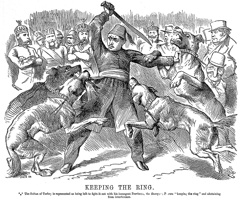 Abdul-Hamid II, is represented as being left to fight it out with his insurgent Provinces, the European Powers 'keeping the ring' and abstaining from interference. English cartoon, 1876.