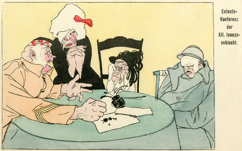 German cartoon satirising a conference of Allies (from left to right: Scotland, Russia, Italy and Britain) after the Battle of Caporetto, 1917.