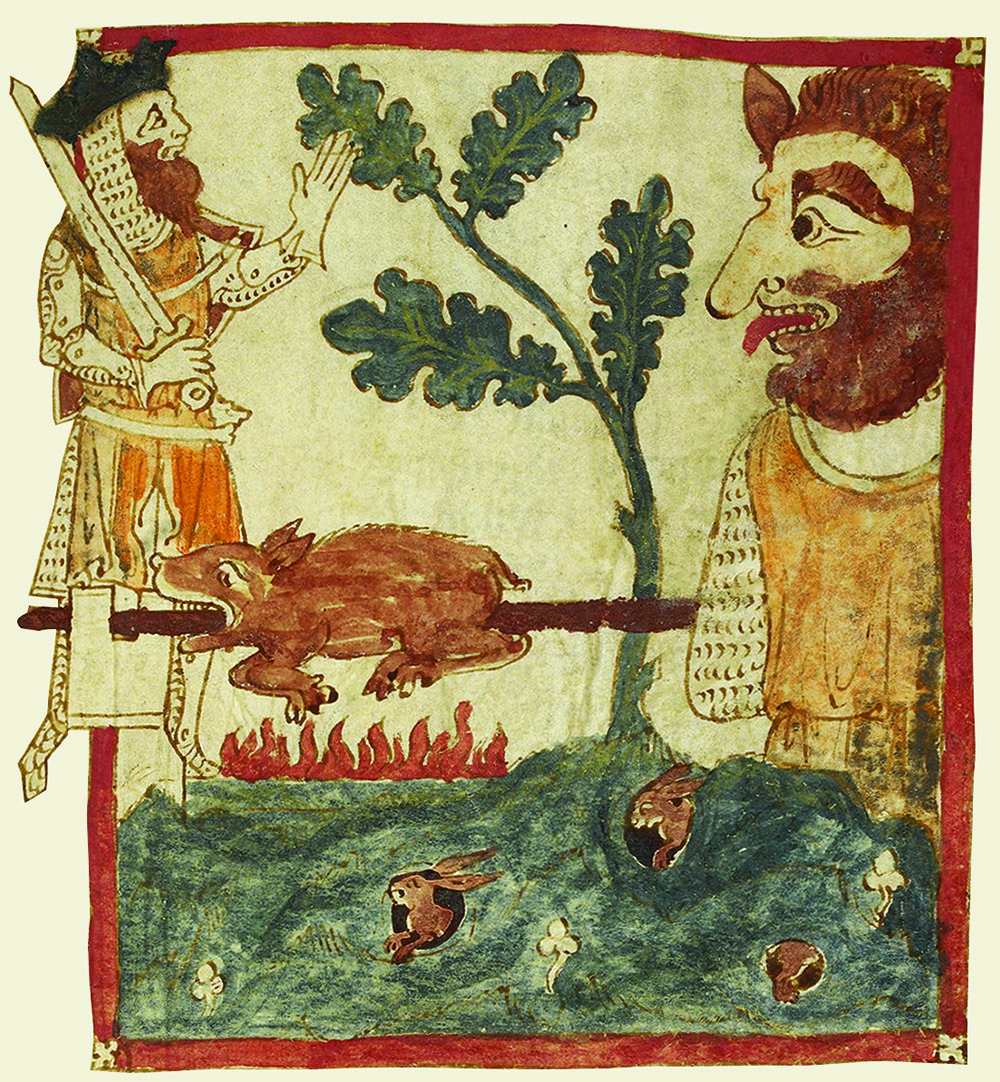 Arthur confronts a giant, from Wace's translation of the History of the Kings of Britain, 12th century.