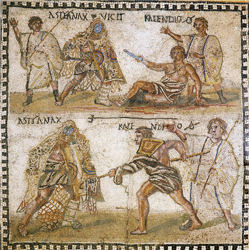 Mosaic at the National Archaeological Museum in Madrid showing a retiarius (net-fighter) named Kalendio fighting a secutor named Astyanax