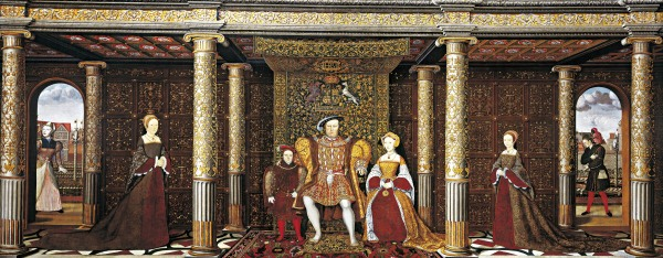 The Family of Henry VIII, by an unknown artist. Will Somer is portrayed in the archway on the right; 'Jane the Fool' is seen through the one on the left.
