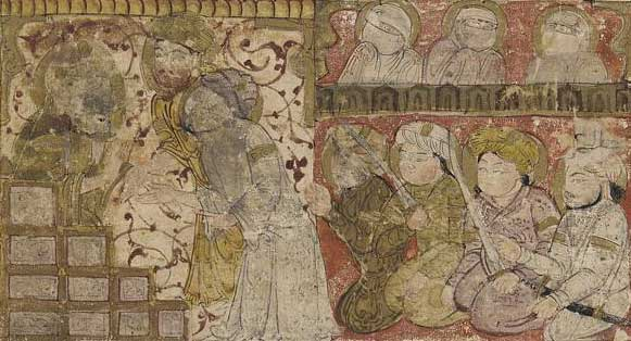 'The election of 'Othman as the caliphate of Medina', detail from a folio from a Tarikhnama (Book of history) by Balami, early 14th century. Wiki Commons / Smithsonian Institute.
