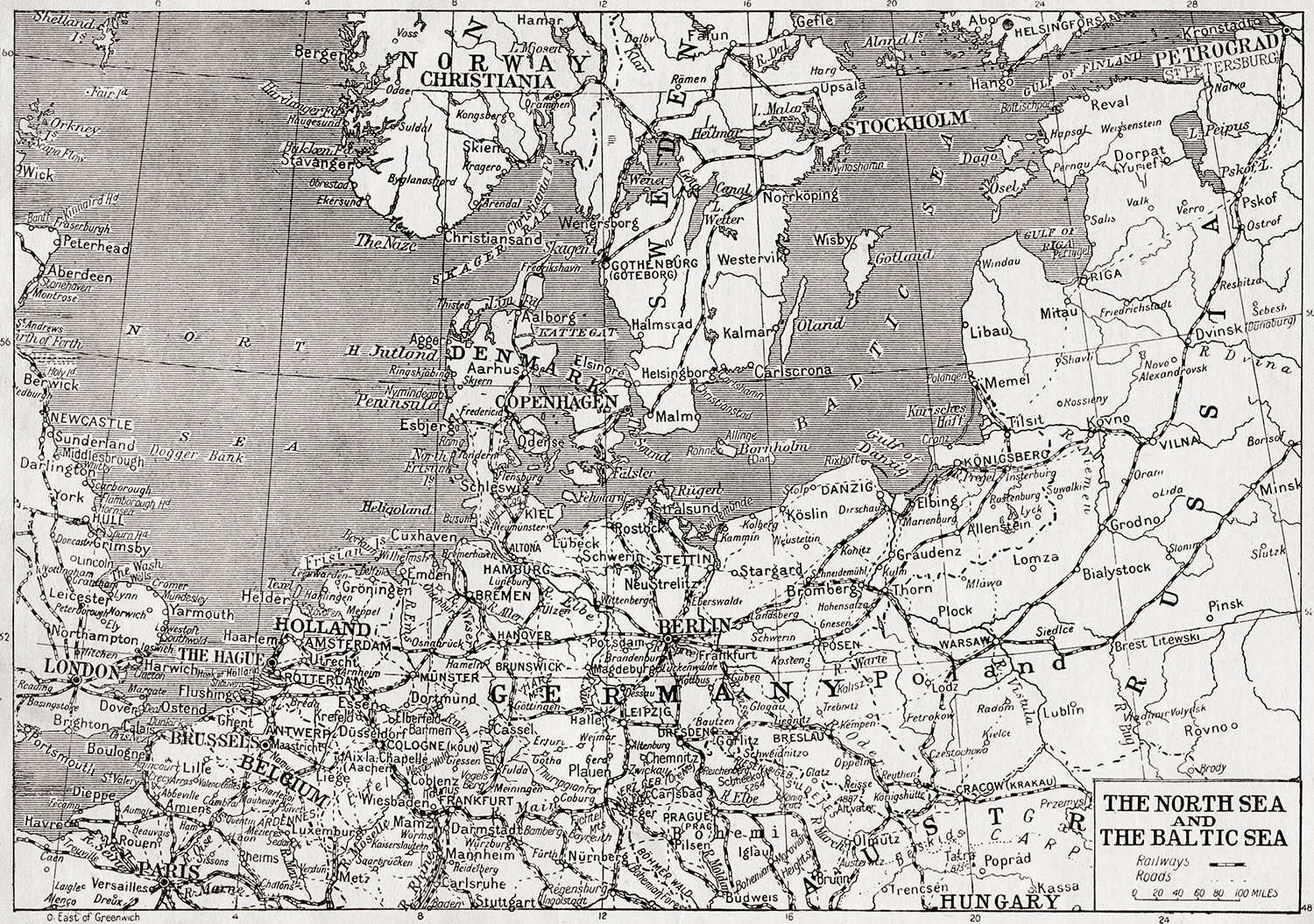 Map of the North Sea and Baltic Sea, 1914.