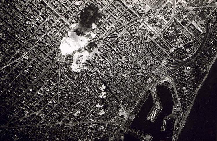 Italian aerial bombing of Barcelona, 17 March 1938.
